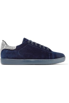 MAJE Glittered leather-trimmed velvet sneakers