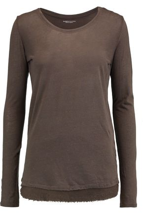 MAJESTIC Wool-trimmed cotton and cashmere-blend jersey top
