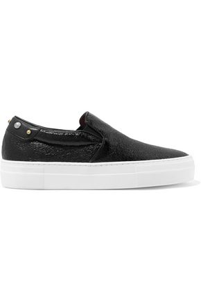 MAJE Studded cracked-leather slip-on sneakers