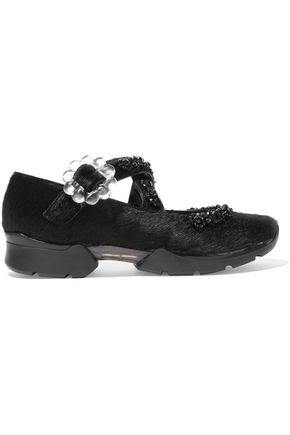 SIMONE ROCHA RUN1C embellished calf hair sneakers