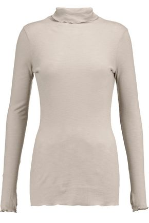 ENZA COSTA Ruffled ribbed cotton turtleneck top