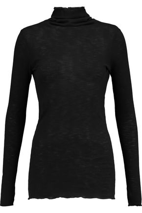 ENZA COSTA Ribbed cotton-jersey turtleneck sweater