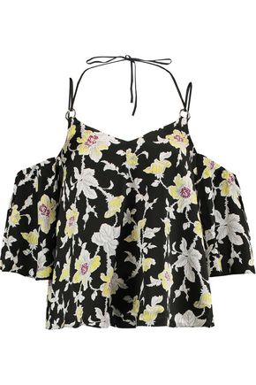 CINQ À SEPT Rayna cold-shoulder floral-print silk-satin top