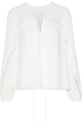 HAUTE HIPPIE Lace-up lace-trimmed georgette blouse