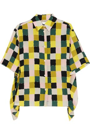 EMILIO PUCCI Draped checked silk crepe de chine shirt