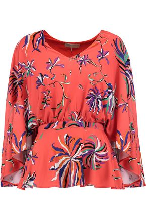 EMILIO PUCCI Layered printed crepe de chine blouse