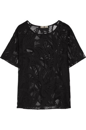 EMILIO PUCCI Embroidered cotton-blend mesh top