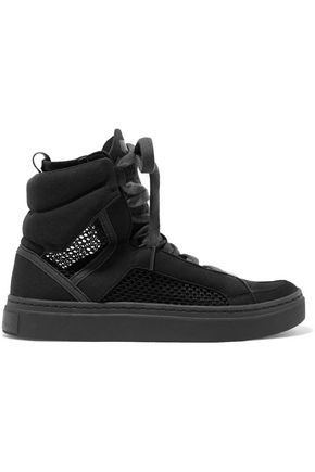 ADIDAS by STELLA McCARTNEY Mesh and faux suede high-top sneakers