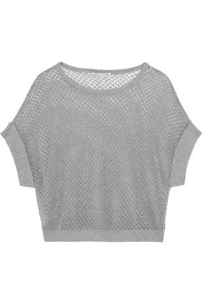 AUTUMN CASHMERE Open-knit cotton top