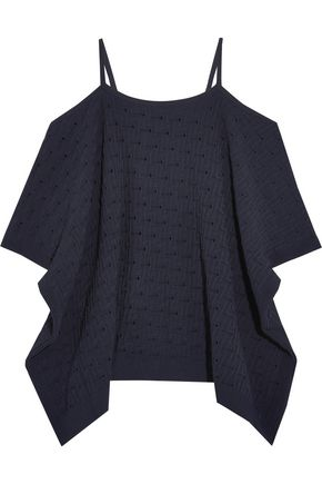 AUTUMN CASHMERE Cold-shoulder jacquard pointelle-knit top
