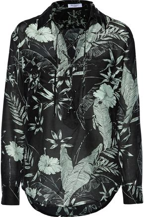 EQUIPMENT Knox lace-up floral-print cotton and silk-blend broadcloth shirt