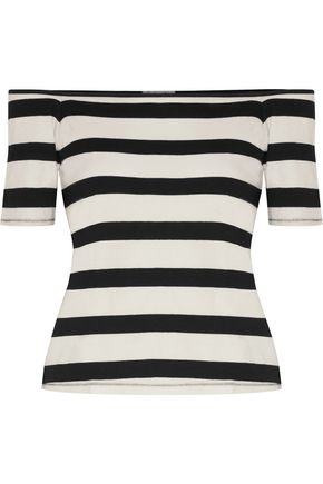 SPLENDID Off-the-shoulder striped cotton-jersey top