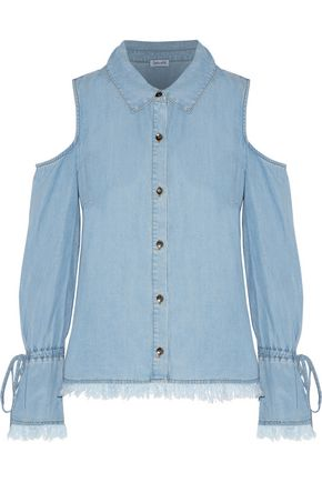 SPLENDID Frayed cold-shoulder chambray top