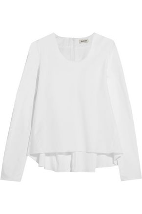 TOTÊME Ike flared cotton-blend poplin top