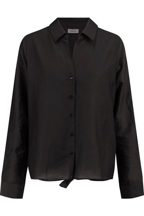 L'AGENCE Hana cotton and silk-blend poplin shirt