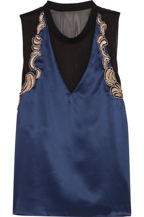 3.1 PHILLIP LIM Sequined-embroidered tulle-paneled silk-satin top