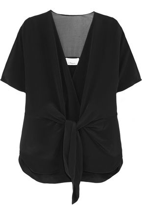 3.1 PHILLIP LIM Voile-paneled knotted silk top