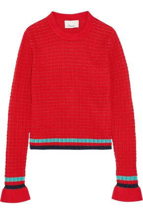 3.1 PHILLIP LIM Striped ribbed-knit stretch-cotton sweater