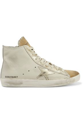 GOLDEN GOOSE DELUXE BRAND Distressed metallic cracked leather-trimmed textured-leather high-top sneakers