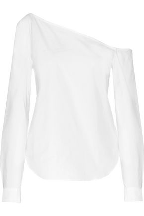 THEORY One-shoulder stretch-cotton poplin top