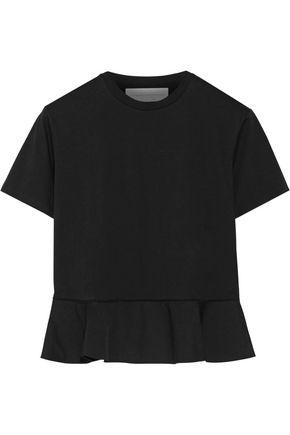 VICTORIA, VICTORIA BECKHAM Poplin-trimmed cotton-jersey top