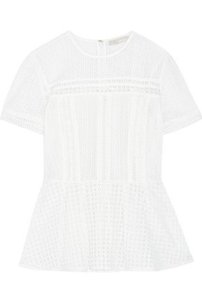 MICHAEL MICHAEL KORS Broderie anglaise cotton-blend peplum top