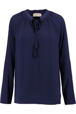 MICHAEL MICHAEL KORS Embroidered hammered-crepe blouse