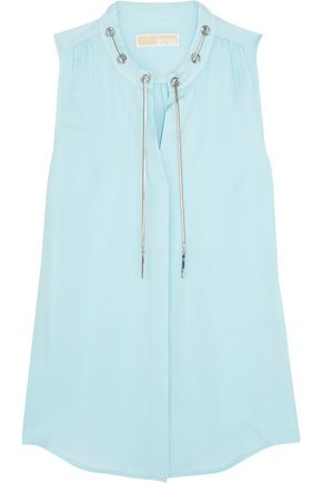 MICHAEL MICHAEL KORS Chain-embellished gathered silk-chiffon top