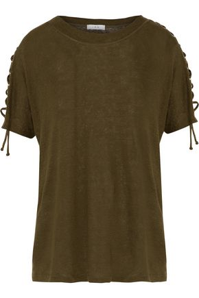 IRO Steiro lace-up linen-jersey T-shirt