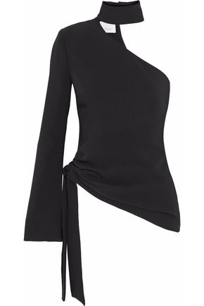CINQ À SEPT Briah one-shoulder asymmetric crepe top