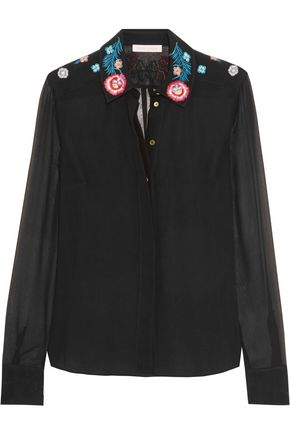 MATTHEW WILLIAMSON Floral-print embroidered silk-crepe shirt