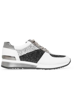 MICHAEL MICHAEL KORS Allie glittered paneled leather and patent-leather sneakers