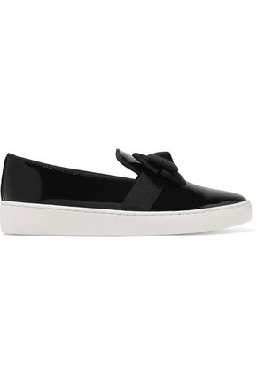MICHAEL KORS COLLECTION Val grosgrain-trimmed patent-leather slip-on sneakers