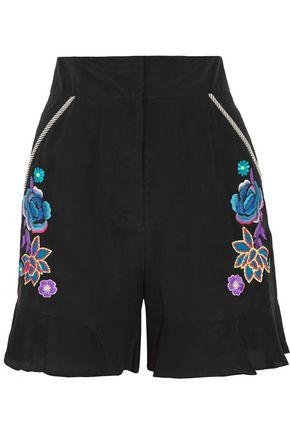 MATTHEW WILLIAMSON Appliquéd silk crepe de chine shorts
