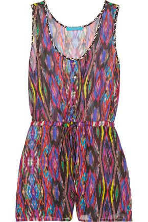 MATTHEW WILLIAMSON Printed silk-chiffon playsuit