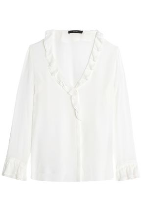 ETRO Wrap-effect ruffled silk-chiffon blouse