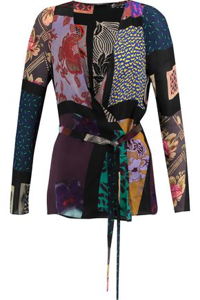 ETRO Printed silk-crepe wrap top