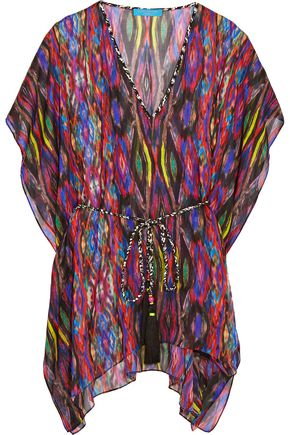 MATTHEW WILLIAMSON Belted printed silk-chiffon kaftan