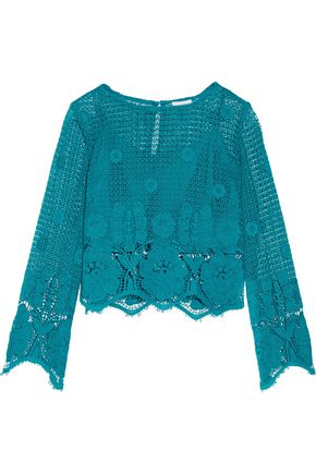 MIGUELINA Alicia cropped crocheted cotton top
