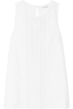 MIGUELINA Margaret crochet-paneled linen top