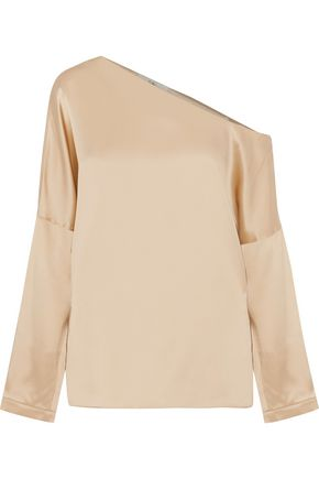 TIBI Asymmetric silk-satin top