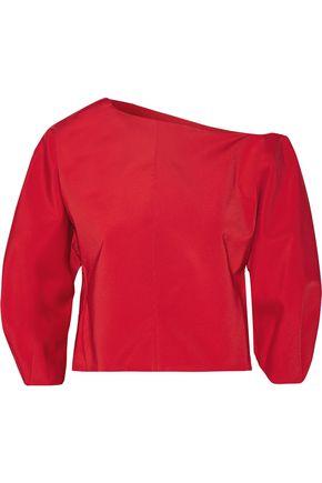 TIBI One-shoulder stretch-faille top