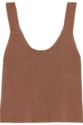 TIBI Metallic stretch-knit tank