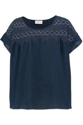CURRENT/ELLIOTT Smocked cotton-voile T-shirt