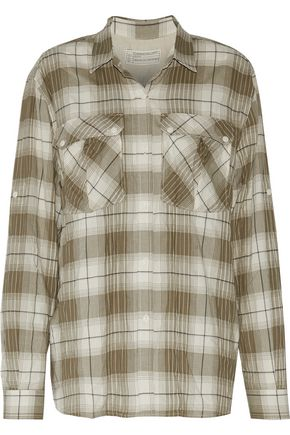 CURRENT/ELLIOTT Checked cotton-blend flannel shirt