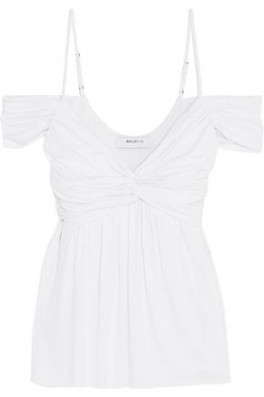 BAILEY 44 Cold-shoulder knotted jersey top