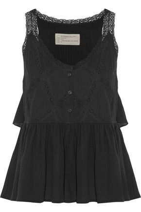 CURRENT/ELLIOTT Lace-trimmed ruffled cotton-voile top