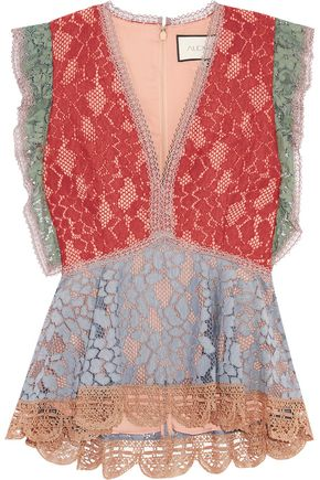 ALEXIS Kirk paneled corded lace top