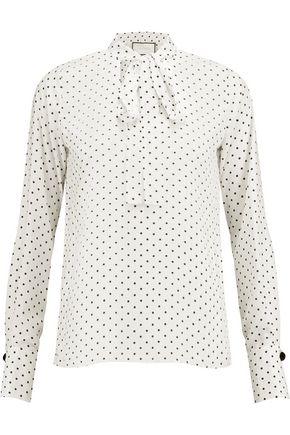 ALEXIS Priya pussy-bow polka-dot satin blouse