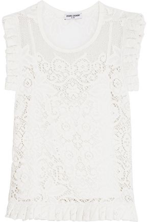 OPENING CEREMONY Nikoletta pleated macramé cotton-blend top